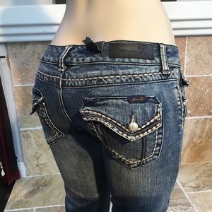 Seven7 Flap Pockets Thick Stitch Boot Cut Jeans 28